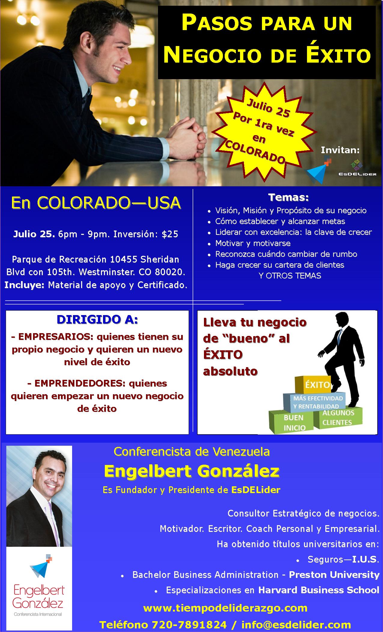 Conferencia PASOS PARA UN NEGOCIO DE ÉXITO en Colorado.